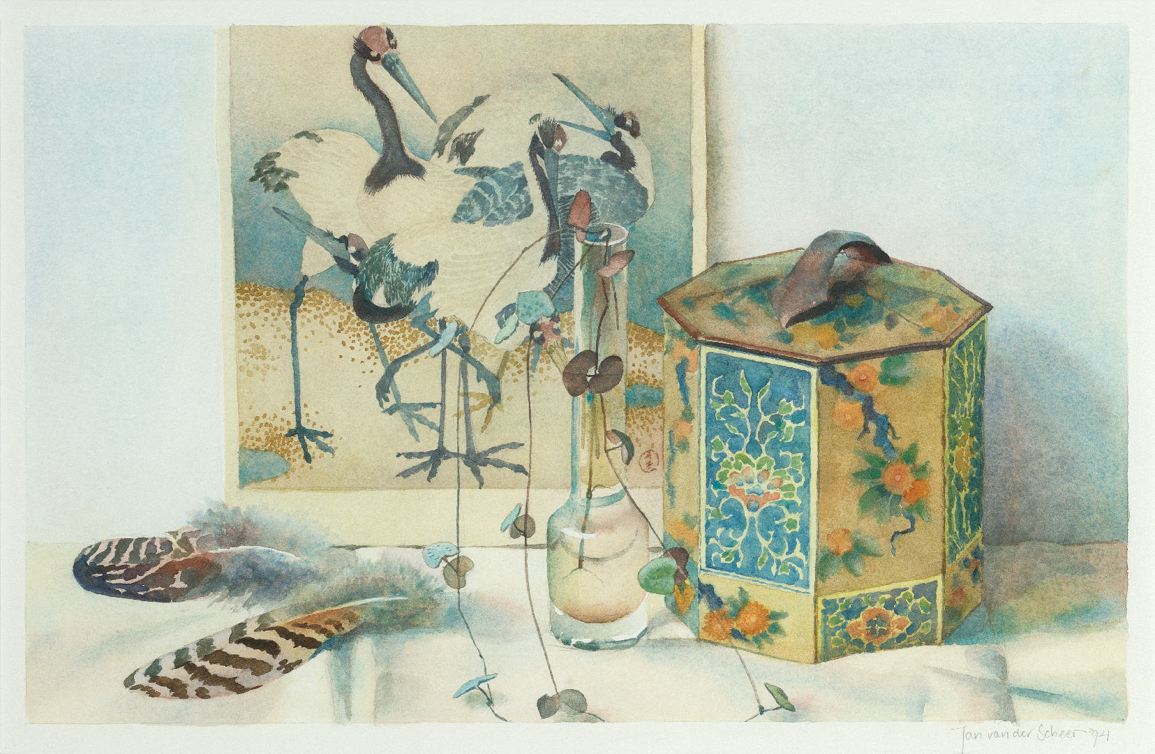 1994 Stilleven met kraanvogels en veren (27 X 42 cm) 10791w