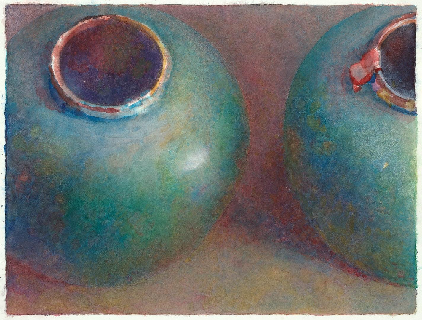 2008 Twee gemberpotten (34 X 45 cm) 11625w